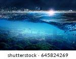 modern city and underwater view.... | Shutterstock . vector #645824269