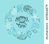 summer time banner in circle... | Shutterstock .eps vector #645826879