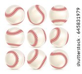baseball leather ball close up... | Shutterstock .eps vector #645831979