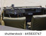 Old truck. Interior of a soviet army truck - stock photo