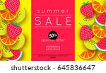 summer sale announcement for... | Shutterstock .eps vector #645836647