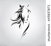 vector silhouette of a horse's... | Shutterstock .eps vector #645837871