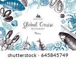 vector menu template with hand... | Shutterstock .eps vector #645845749