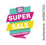 super sale vector banner.  50... | Shutterstock .eps vector #645847321