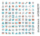 vector set of 150 flat line web ... | Shutterstock .eps vector #645848299