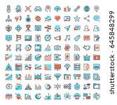 vector set of 150 flat line web ... | Shutterstock .eps vector #645848299