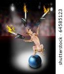 a chihuahua juggling three chainsaws - stock photo