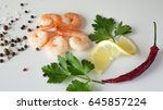 shrimp  squid  parsley and...   Shutterstock . vector #645857224