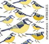 tit birds. seamless pattern.... | Shutterstock .eps vector #645861811