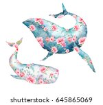 Whale With Flowers Set....