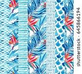 watercolor textured striped...   Shutterstock . vector #645866194