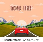 highway drive with beautiful... | Shutterstock .eps vector #645874879