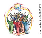 pentecost   descent of the holy ... | Shutterstock .eps vector #645875977
