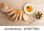 fresh bread  cut into slices... | Shutterstock . vector #645877801