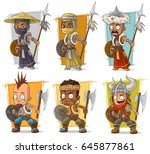 cartoon cool different warriors ... | Shutterstock .eps vector #645877861