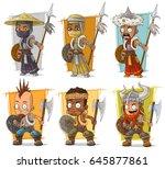 cartoon cool different warriors ... | Shutterstock .eps vector #645877861