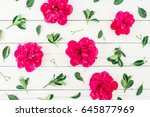 floral pattern of peony and... | Shutterstock . vector #645877969
