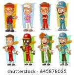 cartoon smiling sportsmen and... | Shutterstock .eps vector #645878035