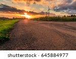 Rural Scene  Cloudy Sunset With ...