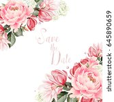 beautiful  wedding card ... | Shutterstock . vector #645890659