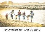 happy multiracial families... | Shutterstock . vector #645891049