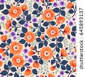 vector seamless pattern. pretty ... | Shutterstock .eps vector #645893137