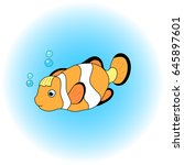 orange and black clown fish in... | Shutterstock .eps vector #645897601