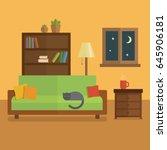 cozy room interior flat... | Shutterstock .eps vector #645906181