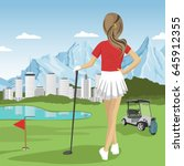 young golfer girl standing with ... | Shutterstock .eps vector #645912355