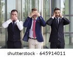 three handsome businessmen as... | Shutterstock . vector #645914011
