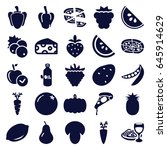 vegetarian icons set. set of 25 ... | Shutterstock .eps vector #645914629