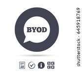 byod sign icon. bring your own... | Shutterstock .eps vector #645918769