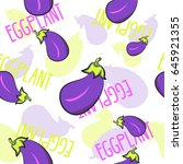 seamless pattern with eggplants.... | Shutterstock .eps vector #645921355