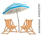 two beach chair with umbrella | Shutterstock .eps vector #645923707