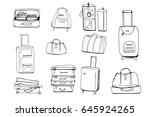 hand drawn set of different... | Shutterstock .eps vector #645924265