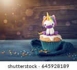 unicorn cupcakes for a party | Shutterstock . vector #645928189