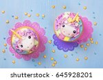 unicorn cupcakes for a party | Shutterstock . vector #645928201