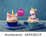unicorn cupcakes for a party   Shutterstock . vector #645928219