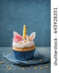 unicorn cupcakes for a party | Shutterstock . vector #645928351