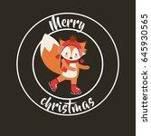 cute animal merry christmas... | Shutterstock .eps vector #645930565