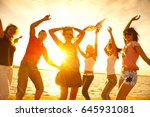 group of happy young people... | Shutterstock . vector #645931081