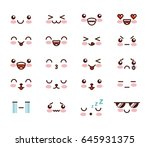 kawaii face icon design   Shutterstock .eps vector #645931375