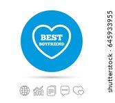best boyfriend sign icon. heart ... | Shutterstock .eps vector #645933955