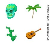 green skull with a picture  a... | Shutterstock .eps vector #645940639