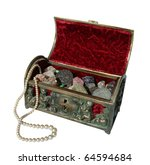 Antique velvet lined jewel chest filled with money, gem stones and a pearl necklace.  With clipping path. - stock photo