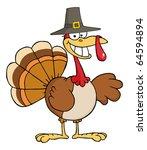 happy turkey cartoon character... | Shutterstock .eps vector #64594894