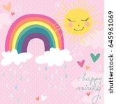 Stock vector cute rainbow clouds sun raining pastel spring vector illustration 645961069