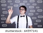 Portrait of funny fashion men in suspender with bow tie and glasses show visual plate. Studio shot. - stock photo