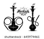 hookah label set. shisha  hooka ... | Shutterstock .eps vector #645974461