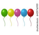 set of colorful helium balloons | Shutterstock .eps vector #645976999